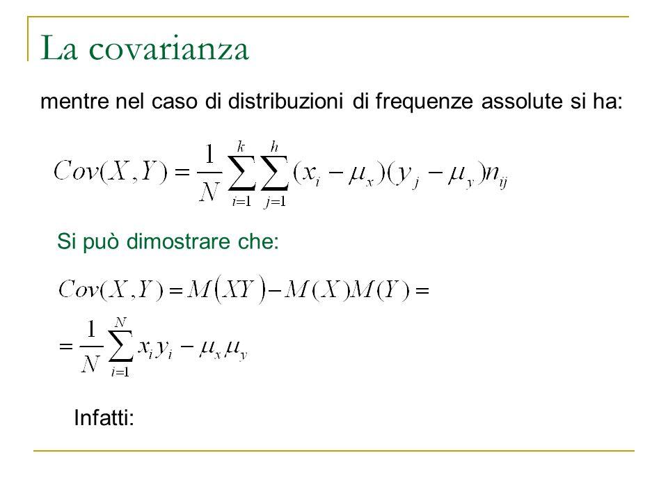 La covarianza. mentre nel caso di distribuzioni di frequenze assolute si ha: Si può dimostrare che: Infatti: