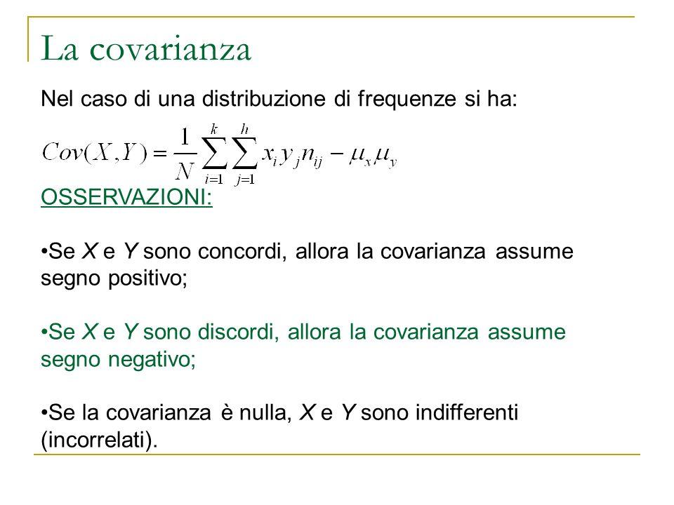 . Nel caso di una distribuzione di frequenze si ha: OSSERVAZIONI: Se X e Y sono concordi, allora la covarianza assume segno positivo; Se X e Y sono di