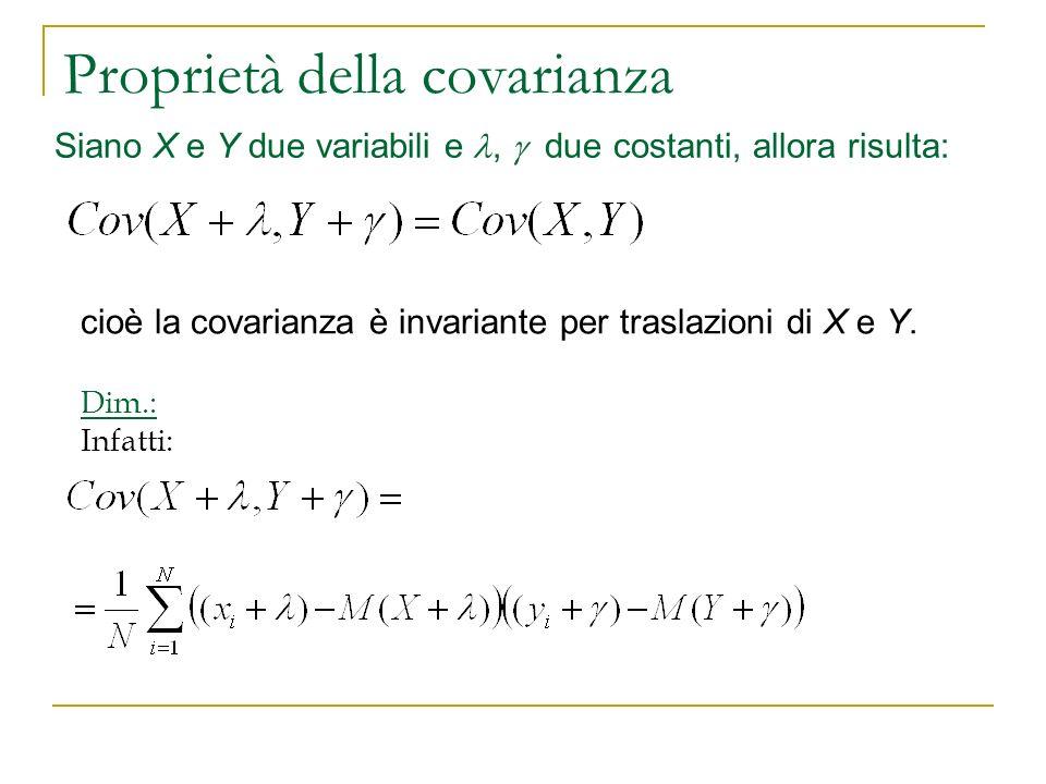 Proprietà della covarianza. Siano X e Y due variabili e, due costanti, allora risulta: cioè la covarianza è invariante per traslazioni di X e Y. Dim.:
