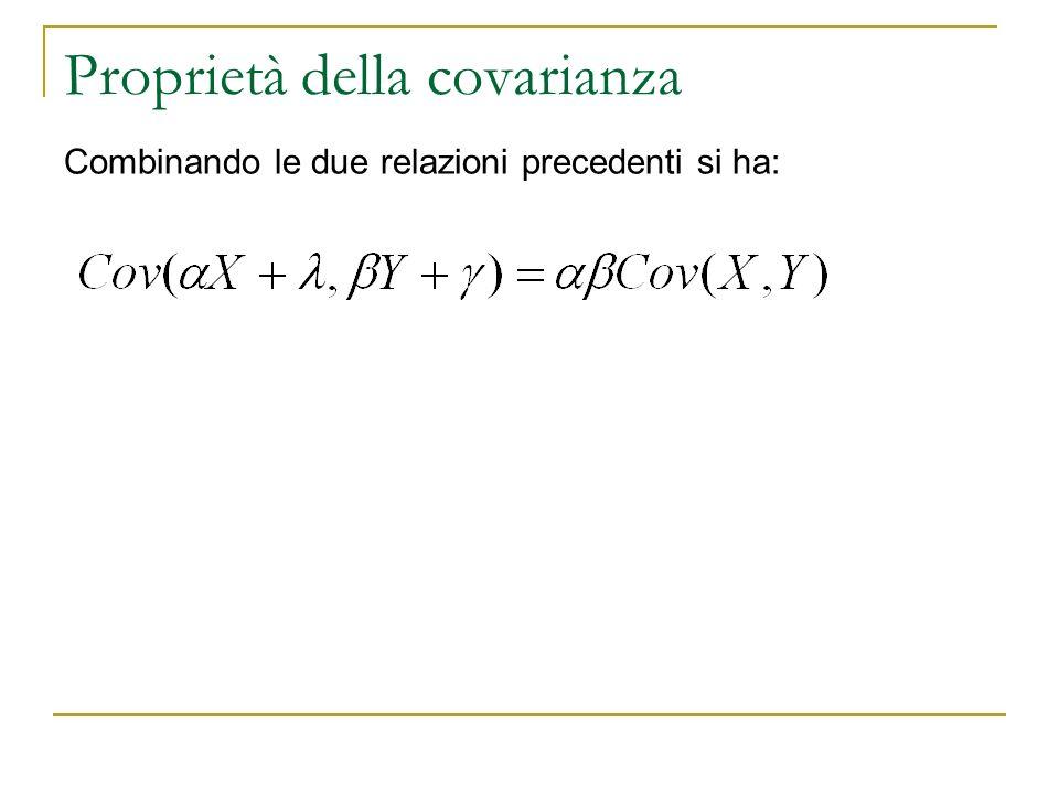 Proprietà della covarianza. Combinando le due relazioni precedenti si ha: