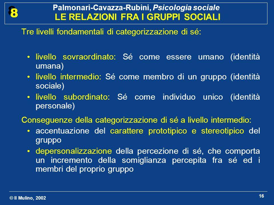 © Il Mulino, 2002 Palmonari-Cavazza-Rubini, Psicologia sociale LE RELAZIONI FRA I GRUPPI SOCIALI 8 8 17 Quali categorie sociali saranno salienti in una determinata situazione.