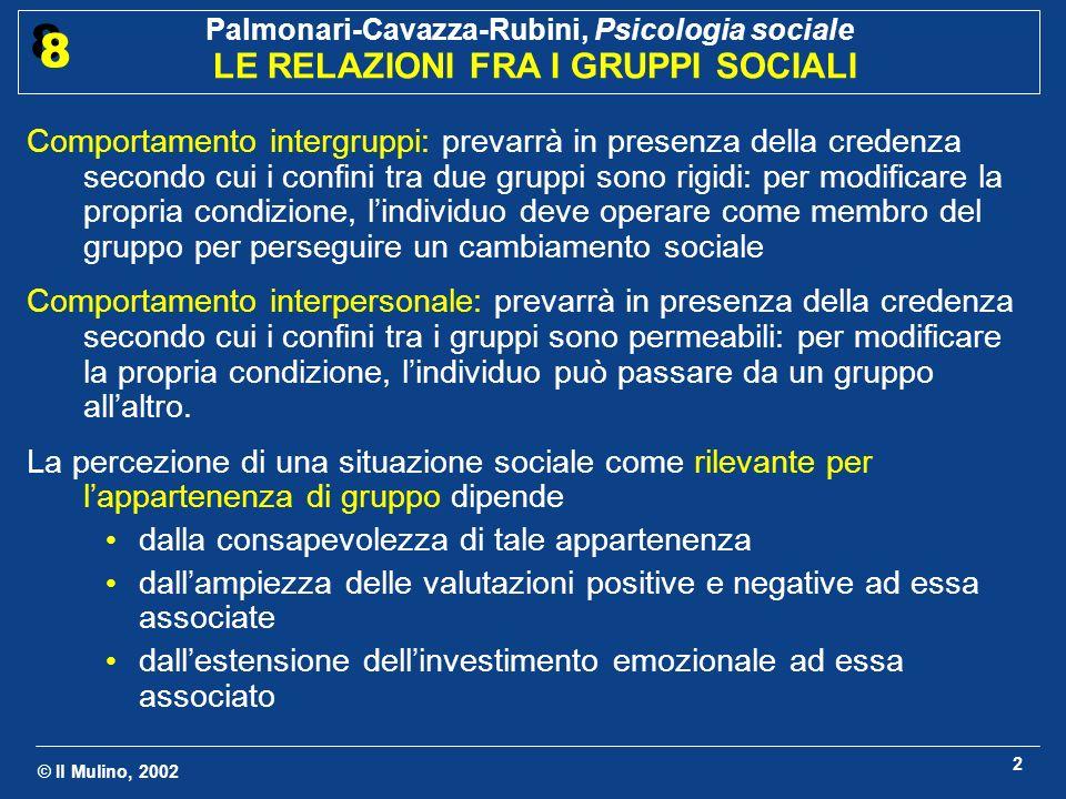 © Il Mulino, 2002 Palmonari-Cavazza-Rubini, Psicologia sociale LE RELAZIONI FRA I GRUPPI SOCIALI 8 8 3 In quali condizioni si genera animosità fra i gruppi.