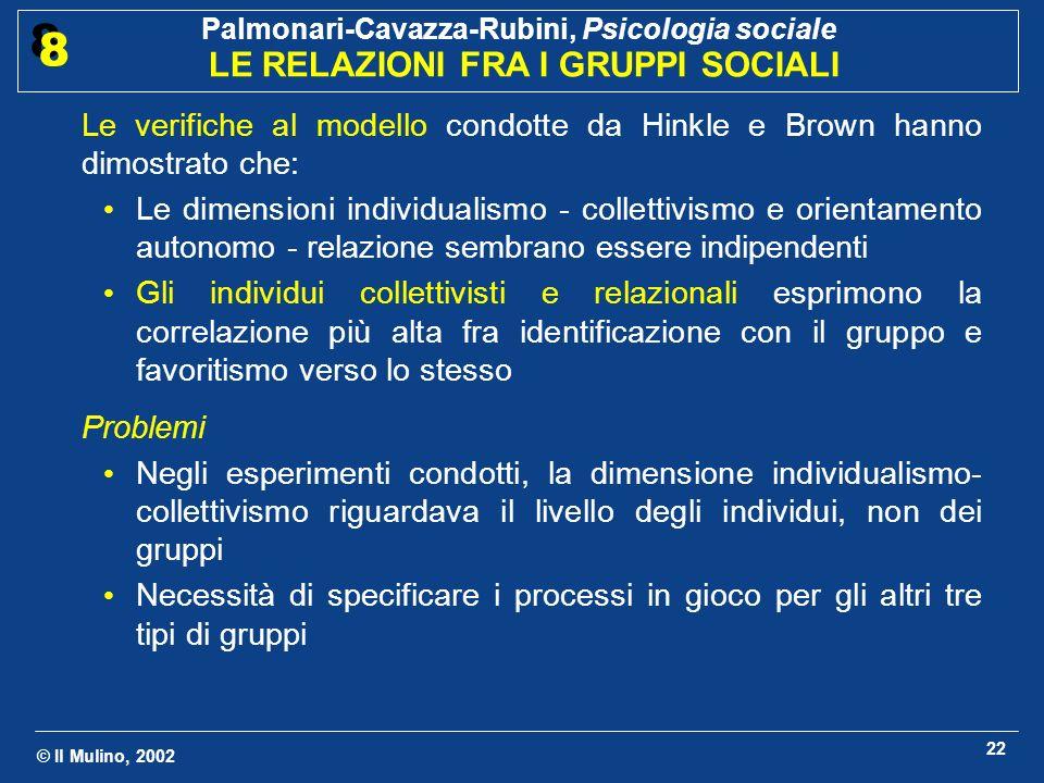 © Il Mulino, 2002 Palmonari-Cavazza-Rubini, Psicologia sociale LE RELAZIONI FRA I GRUPPI SOCIALI 8 8 23 3.