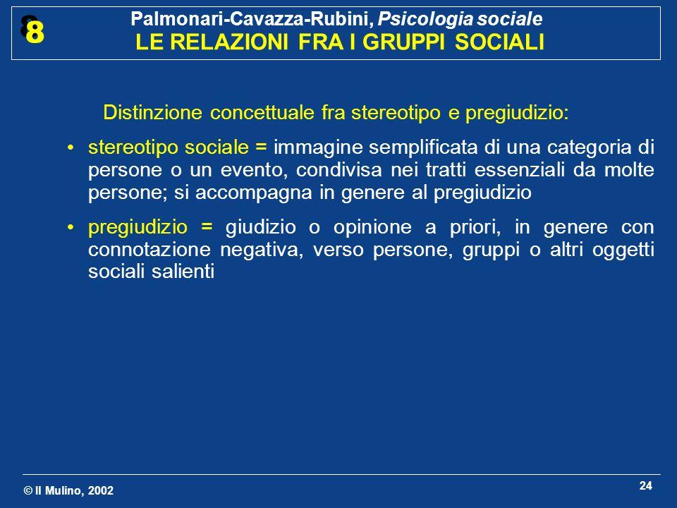 © Il Mulino, 2002 Palmonari-Cavazza-Rubini, Psicologia sociale LE RELAZIONI FRA I GRUPPI SOCIALI 8 8 25 Come avviene il passaggio dalla discriminazione alla violenza verso i componenti delloutgroup.