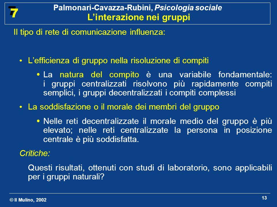 © Il Mulino, 2002 Palmonari-Cavazza-Rubini, Psicologia sociale Linterazione nei gruppi 7 7 13 Il tipo di rete di comunicazione influenza: Lefficienza