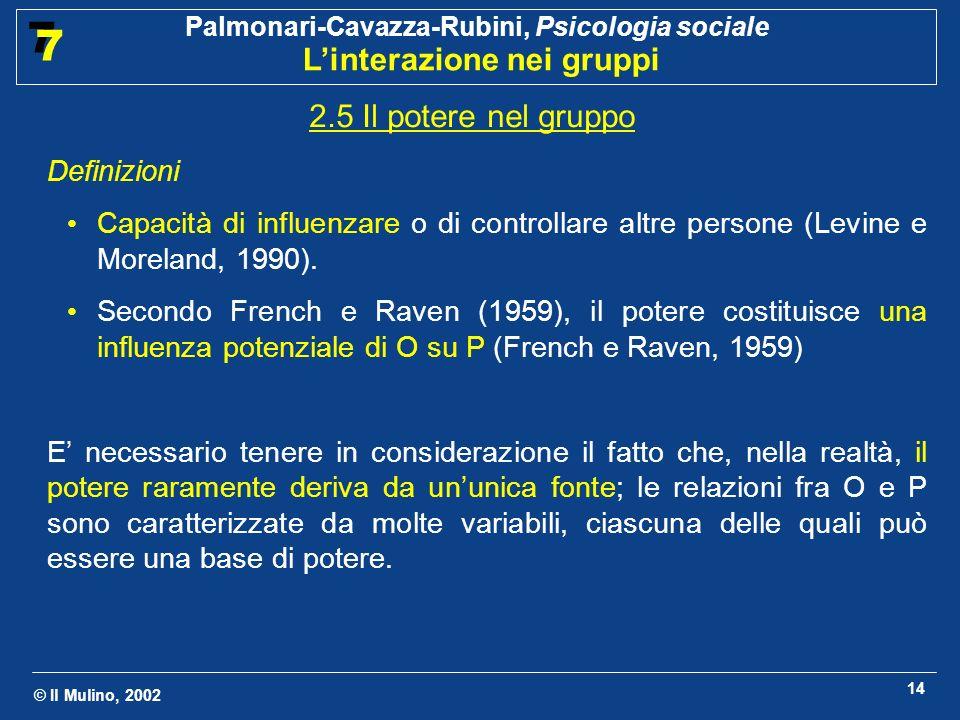 © Il Mulino, 2002 Palmonari-Cavazza-Rubini, Psicologia sociale Linterazione nei gruppi 7 7 14 2.5 Il potere nel gruppo Definizioni Capacità di influen