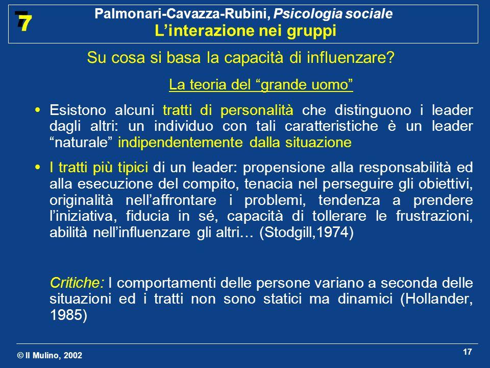 © Il Mulino, 2002 Palmonari-Cavazza-Rubini, Psicologia sociale Linterazione nei gruppi 7 7 17 Su cosa si basa la capacità di influenzare? La teoria de