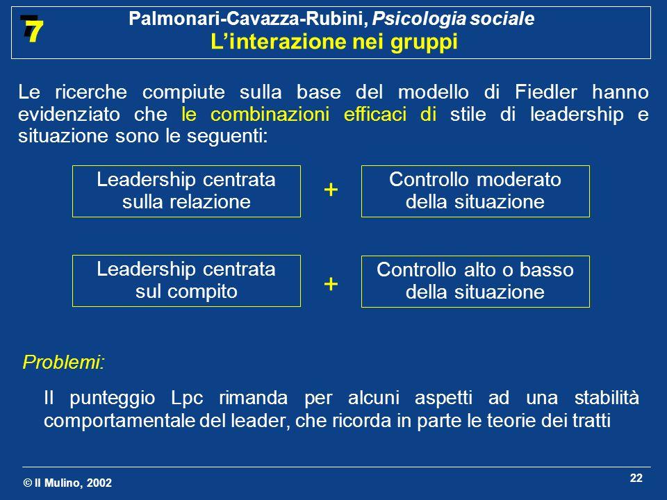 © Il Mulino, 2002 Palmonari-Cavazza-Rubini, Psicologia sociale Linterazione nei gruppi 7 7 22 Problemi: Il punteggio Lpc rimanda per alcuni aspetti ad