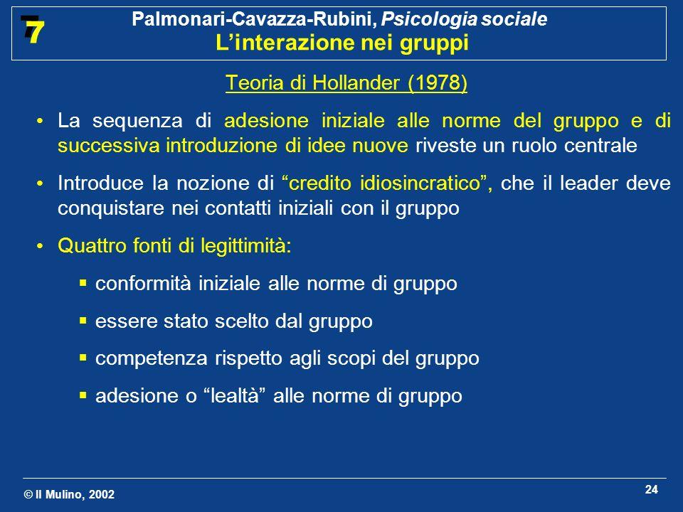 © Il Mulino, 2002 Palmonari-Cavazza-Rubini, Psicologia sociale Linterazione nei gruppi 7 7 24 Teoria di Hollander (1978) La sequenza di adesione inizi
