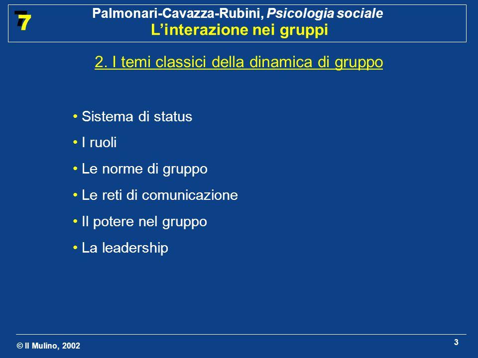 © Il Mulino, 2002 Palmonari-Cavazza-Rubini, Psicologia sociale Linterazione nei gruppi 7 7 14 2.5 Il potere nel gruppo Definizioni Capacità di influenzare o di controllare altre persone (Levine e Moreland, 1990).