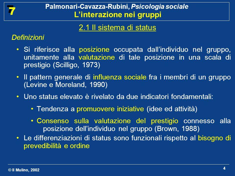 © Il Mulino, 2002 Palmonari-Cavazza-Rubini, Psicologia sociale Linterazione nei gruppi 7 7 4 2.1 Il sistema di status Definizioni Si riferisce alla po