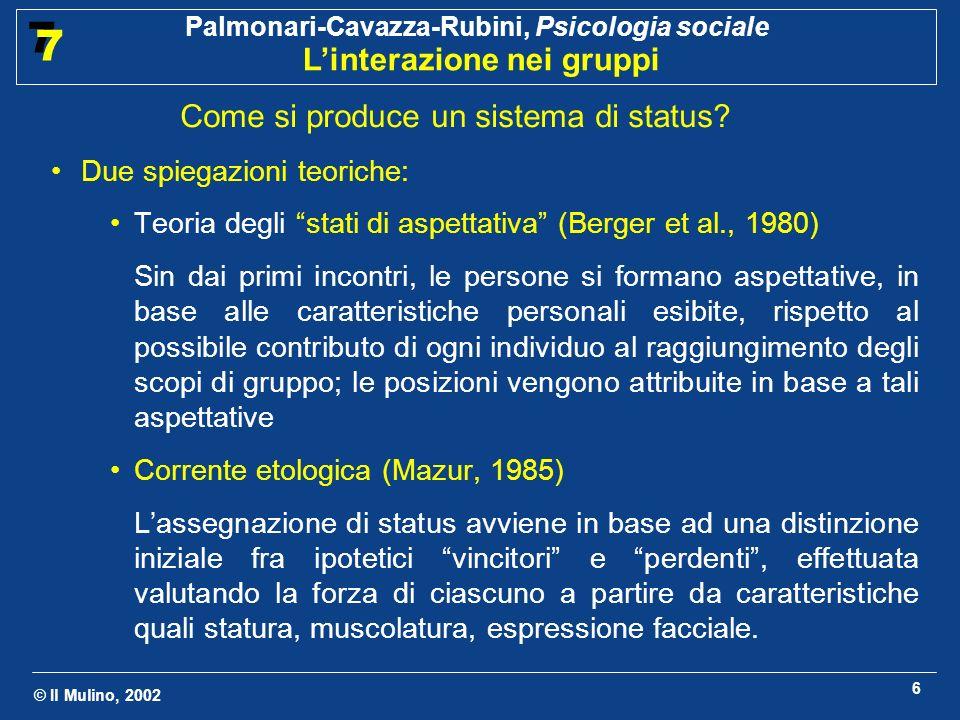 © Il Mulino, 2002 Palmonari-Cavazza-Rubini, Psicologia sociale Linterazione nei gruppi 7 7 7 2.2 Il ruolo Definizione Insieme di aspettative condivise rispetto al modo in cui dovrebbe comportarsi un individuo che occupa una certa posizione nel gruppo A che cosa serve una divisione in ruoli.