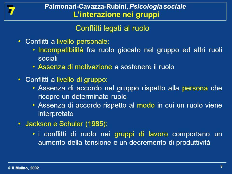 © Il Mulino, 2002 Palmonari-Cavazza-Rubini, Psicologia sociale Linterazione nei gruppi 7 7 8 Conflitti legati al ruolo Conflitti a livello personale: