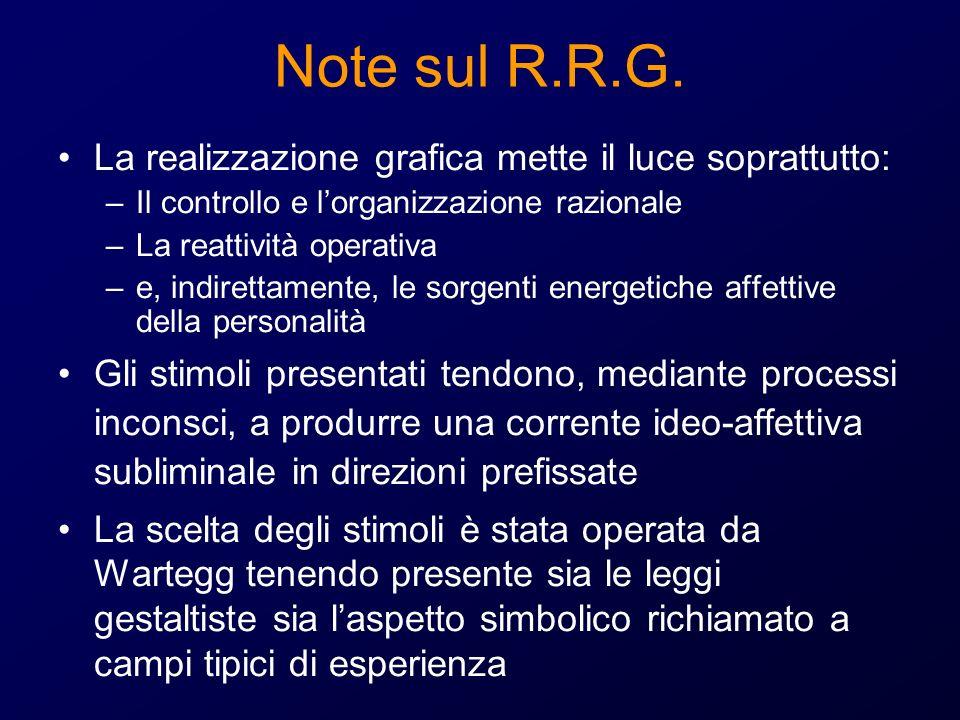 Note sul R.R.G. La realizzazione grafica mette il luce soprattutto: –Il controllo e lorganizzazione razionale –La reattività operativa –e, indirettame