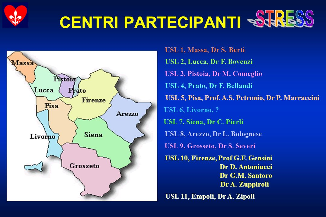 CENTRI PARTECIPANTI USL 1, Massa, Dr S. Berti USL 2, Lucca, Dr F. Bovenzi USL 3, Pistoia, Dr M. Comeglio USL 4, Prato, Dr F. Bellandi USL 5, Pisa, Pro