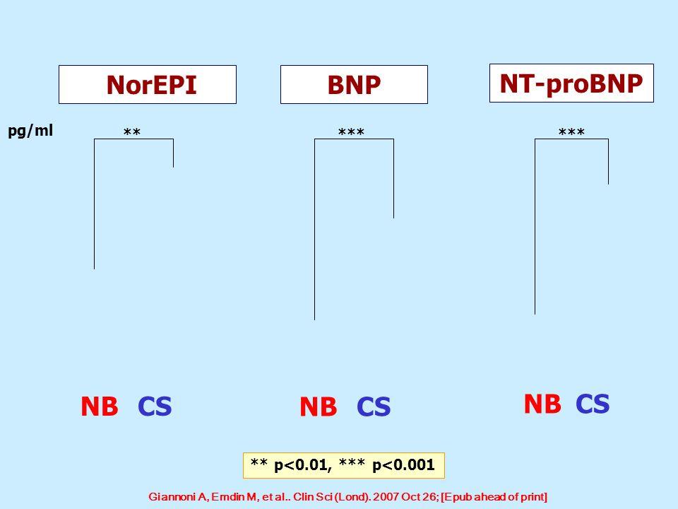 NorEPIBNP NT-proBNP pg/ml ** *** NBCS NBCS NBCS ** p<0.01, *** p<0.001 Giannoni A, Emdin M, et al.. Clin Sci (Lond). 2007 Oct 26; [Epub ahead of print