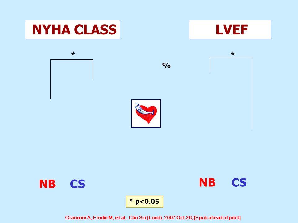 NYHA CLASS LVEF ** % NBCS NBCS * p<0.05 Giannoni A, Emdin M, et al.. Clin Sci (Lond). 2007 Oct 26; [Epub ahead of print]