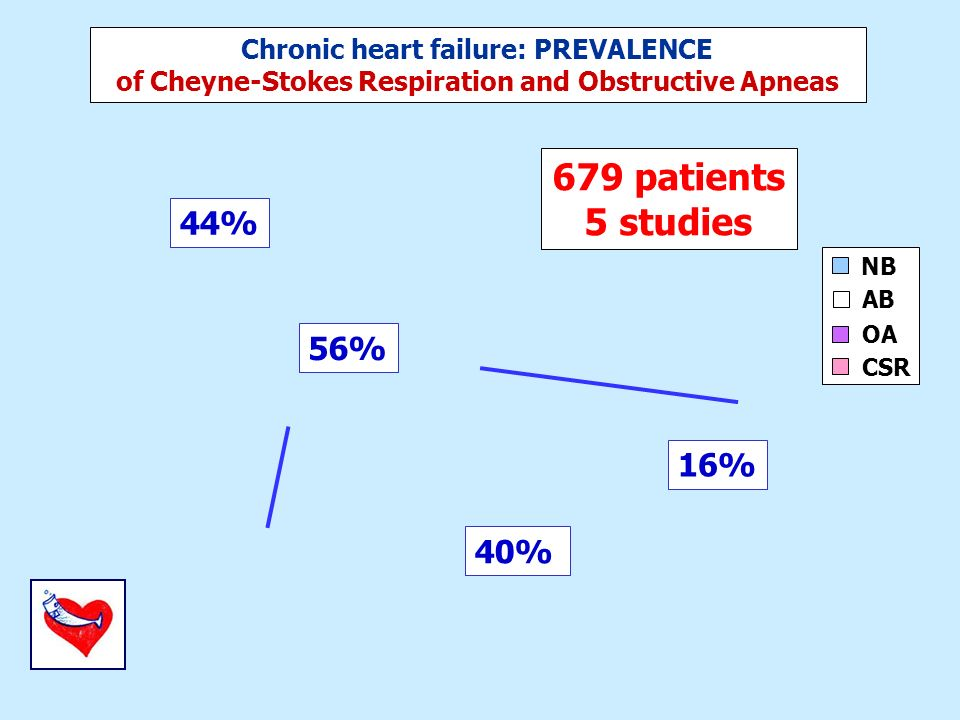 679 patients 5 studies NB OA CSR 44% 56% 16% 40% AB Chronic heart failure: PREVALENCE of Cheyne-Stokes Respiration and Obstructive Apneas