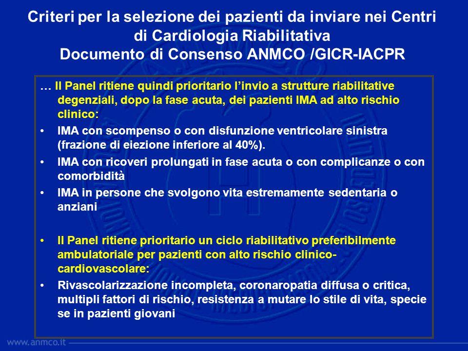Criteri per la selezione dei pazienti da inviare nei Centri di Cardiologia Riabilitativa Documento di Consenso ANMCO /GICR-IACPR … Il Panel ritiene qu