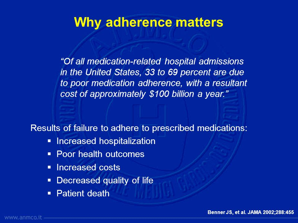 Why adherence matters Results of failure to adhere to prescribed medications: Increased hospitalization Poor health outcomes Increased costs Decreased