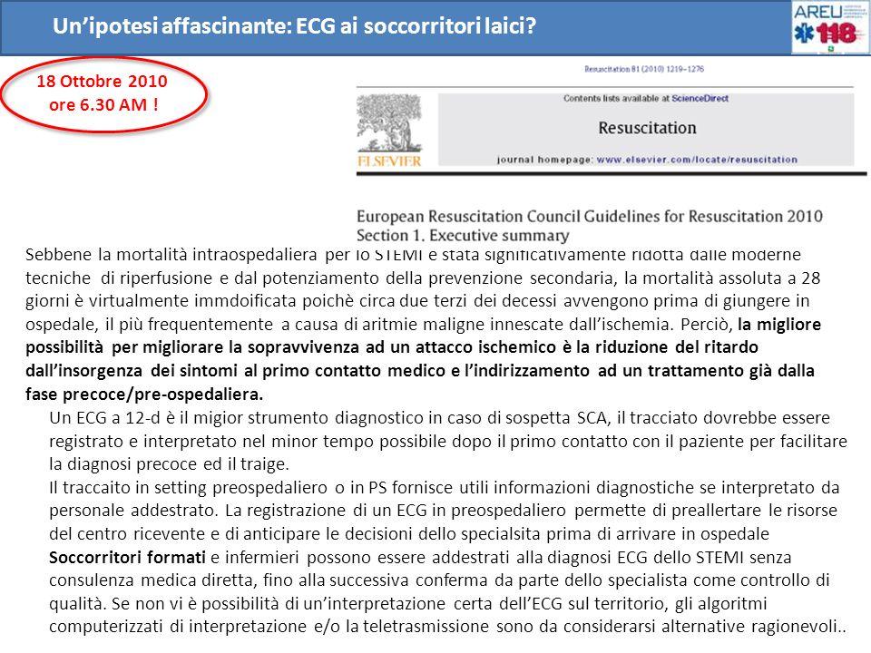 Unipotesi affascinante: ECG ai soccorritori laici? Sebbene la mortalità intraospedaliera per lo STEMI è stata significativamente ridotta dalle moderne