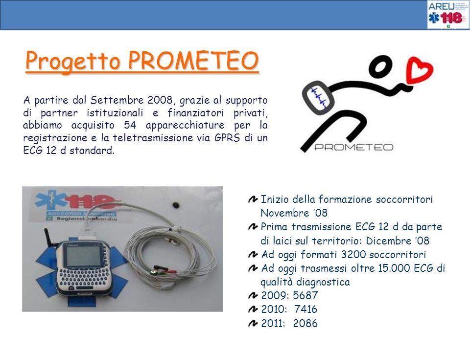 Progetto PROMETEO A partire dal Settembre 2008, grazie al supporto di partner istituzionali e finanziatori privati, abbiamo acquisito 54 apparecchiatu