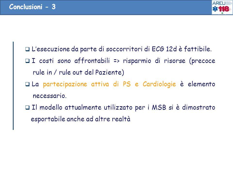 Lesecuzione da parte di soccorritori di ECG 12d è fattibile. I costi sono affrontabili => risparmio di risorse (precoce rule in / rule out del Pazient