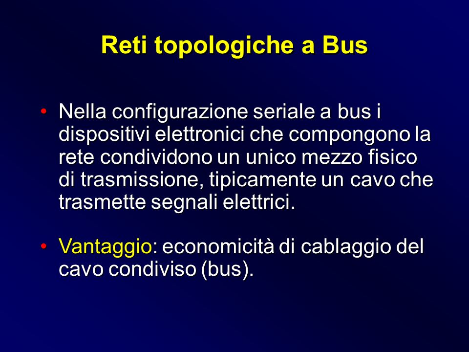 Nella configurazione seriale a bus i dispositivi elettronici che compongono la rete condividono un unico mezzo fisico di trasmissione, tipicamente un