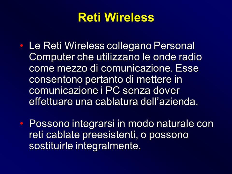 Le Reti Wireless collegano Personal Computer che utilizzano le onde radio come mezzo di comunicazione. Esse consentono pertanto di mettere in comunica