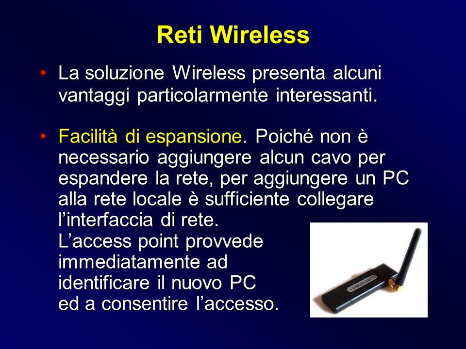 La soluzione Wireless presenta alcuni vantaggi particolarmente interessanti.La soluzione Wireless presenta alcuni vantaggi particolarmente interessant