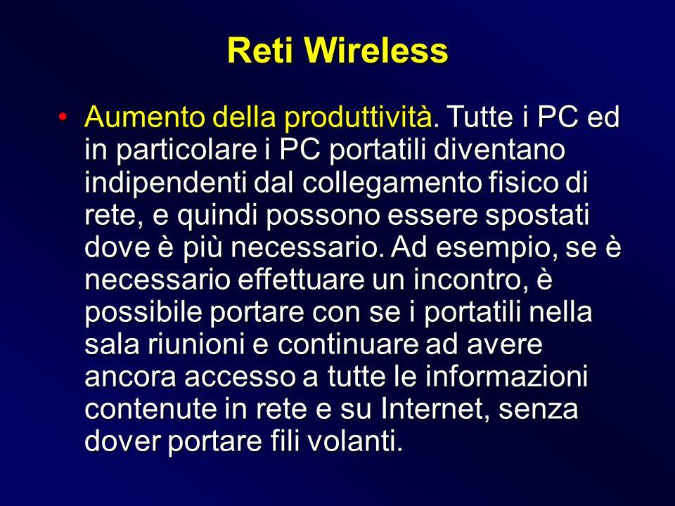 Aumento della produttività. Tutte i PC ed in particolare i PC portatili diventano indipendenti dal collegamento fisico di rete, e quindi possono esser