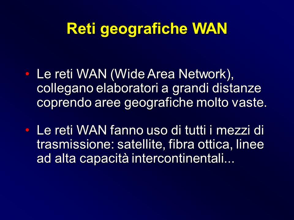 Le reti WAN (Wide Area Network), collegano elaboratori a grandi distanze coprendo aree geografiche molto vaste.Le reti WAN (Wide Area Network), colleg