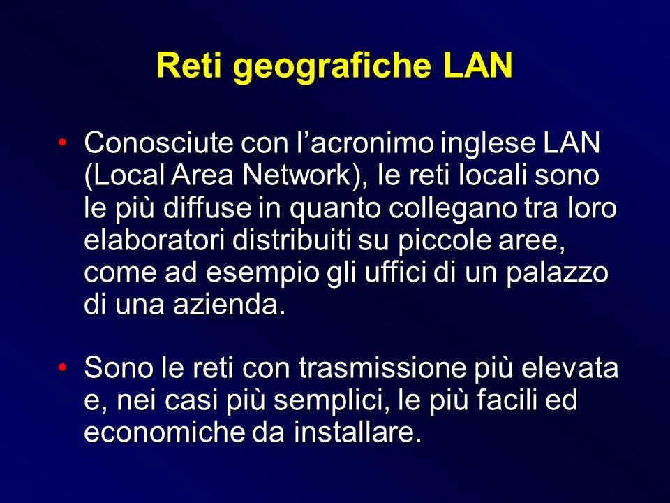 Conosciute con lacronimo inglese LAN (Local Area Network), le reti locali sono le più diffuse in quanto collegano tra loro elaboratori distribuiti su
