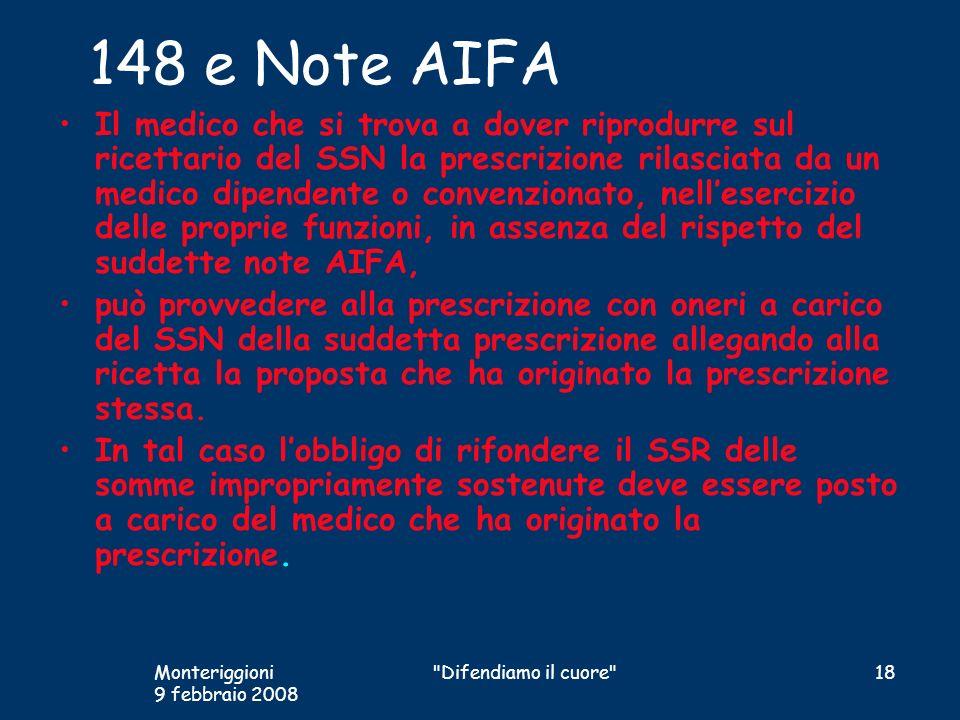 148 e Note AIFA Il medico che si trova a dover riprodurre sul ricettario del SSN la prescrizione rilasciata da un medico dipendente o convenzionato, n