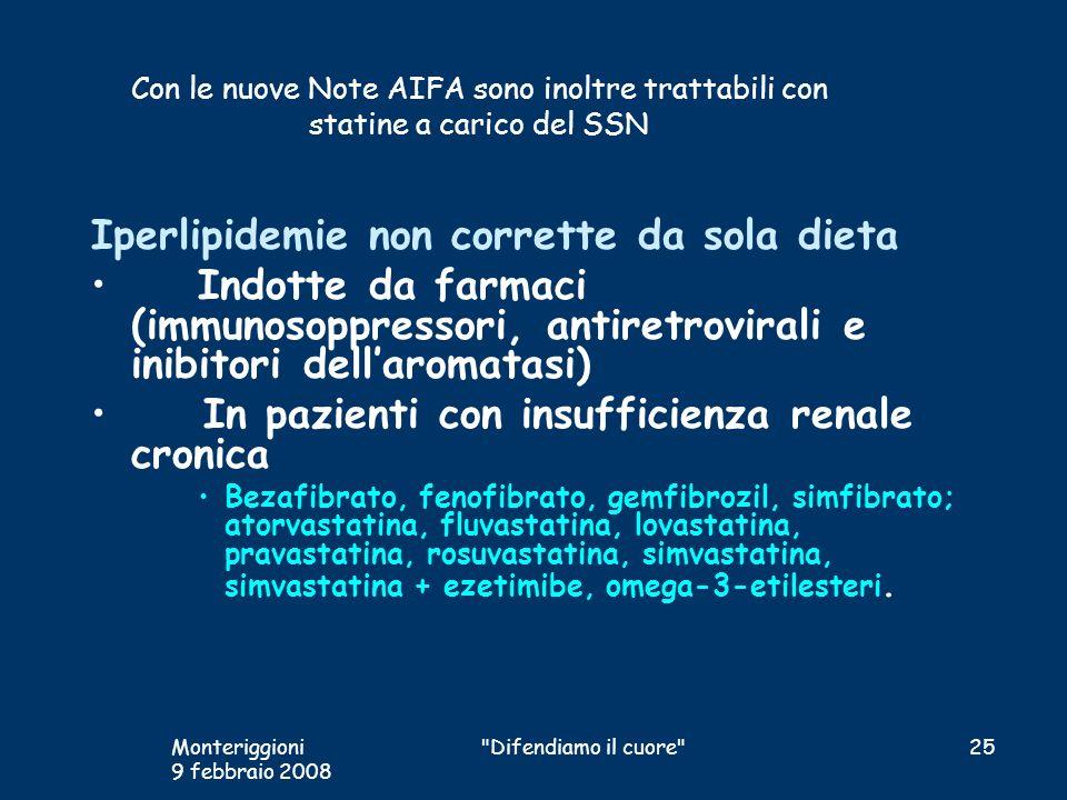 Con le nuove Note AIFA sono inoltre trattabili con statine a carico del SSN Iperlipidemie non corrette da sola dieta Indotte da farmaci (immunosoppres