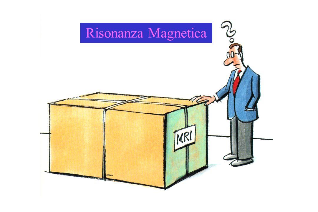 Moto di precessione Il protone mentre tende ad allinearsi lungo la direzione del campo magnetico applicato B 0 è animato da un moto di precessione analogo a quello della trottola La frequenza angolare 0 del moto di precessione è proporzionale allintensità del campo magnetico applicato B 0 0 = B 0 In un campo magnetico di 1,5 T la frequenza di precessione dei protoni è di circa 64 MHz