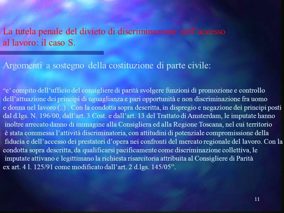 11 La tutela penale del divieto di discriminazione nellaccesso al lavoro: il caso S.