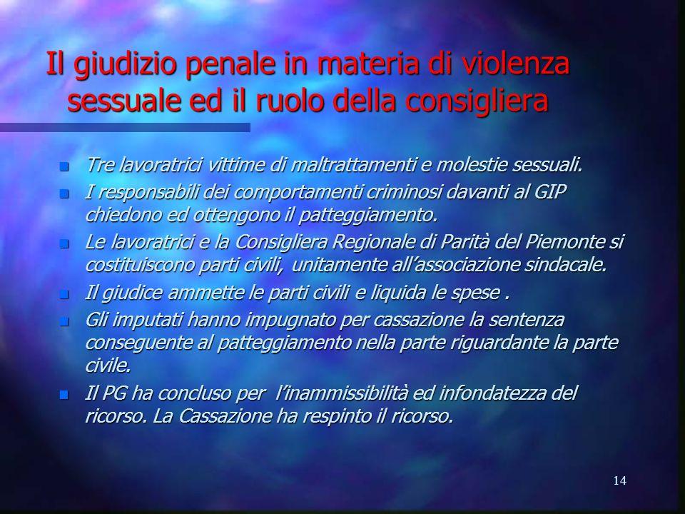 14 Il giudizio penale in materia di violenza sessuale ed il ruolo della consigliera n Tre lavoratrici vittime di maltrattamenti e molestie sessuali.