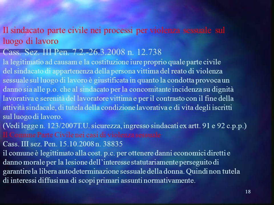 18 Il sindacato parte civile nei processi per violenza sessuale sul luogo di lavoro Cass.