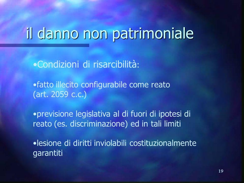 19 il danno non patrimoniale Condizioni di risarcibilità : fatto illecito configurabile come reato (art.