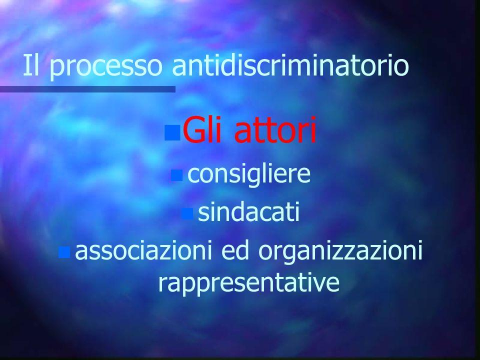 Il processo antidiscriminatorio n Gli attori n consigliere n sindacati n associazioni ed organizzazioni rappresentative