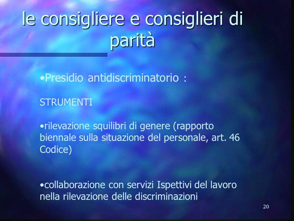 20 le consigliere e consiglieri di parità Presidio antidiscriminatorio : STRUMENTI rilevazione squilibri di genere (rapporto biennale sulla situazione del personale, art.