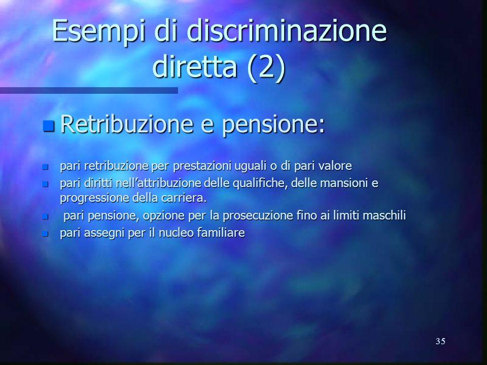35 Esempi di discriminazione diretta (2) n Retribuzione e pensione: n pari retribuzione per prestazioni uguali o di pari valore n pari diritti nellattribuzione delle qualifiche, delle mansioni e progressione della carriera.