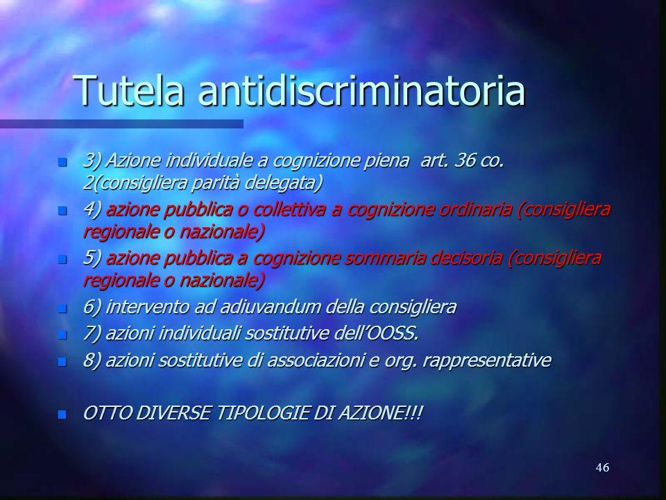 46 Tutela antidiscriminatoria n 3) Azione individuale a cognizione piena art.