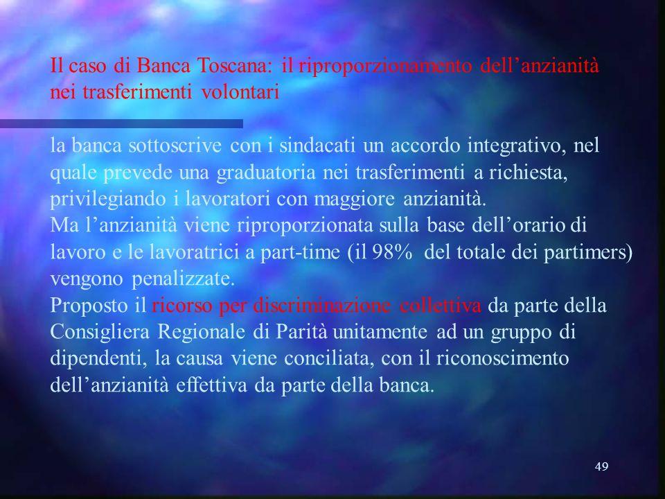 49 Il caso di Banca Toscana: il riproporzionamento dellanzianità nei trasferimenti volontari la banca sottoscrive con i sindacati un accordo integrativo, nel quale prevede una graduatoria nei trasferimenti a richiesta, privilegiando i lavoratori con maggiore anzianità.