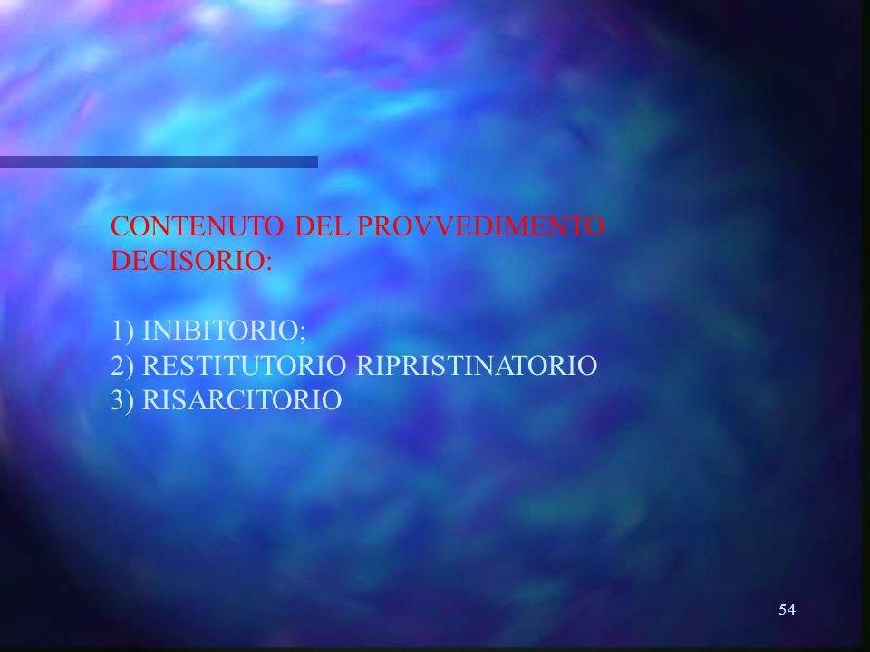 54 CONTENUTO DEL PROVVEDIMENTO DECISORIO: 1) INIBITORIO; 2) RESTITUTORIO RIPRISTINATORIO 3) RISARCITORIO