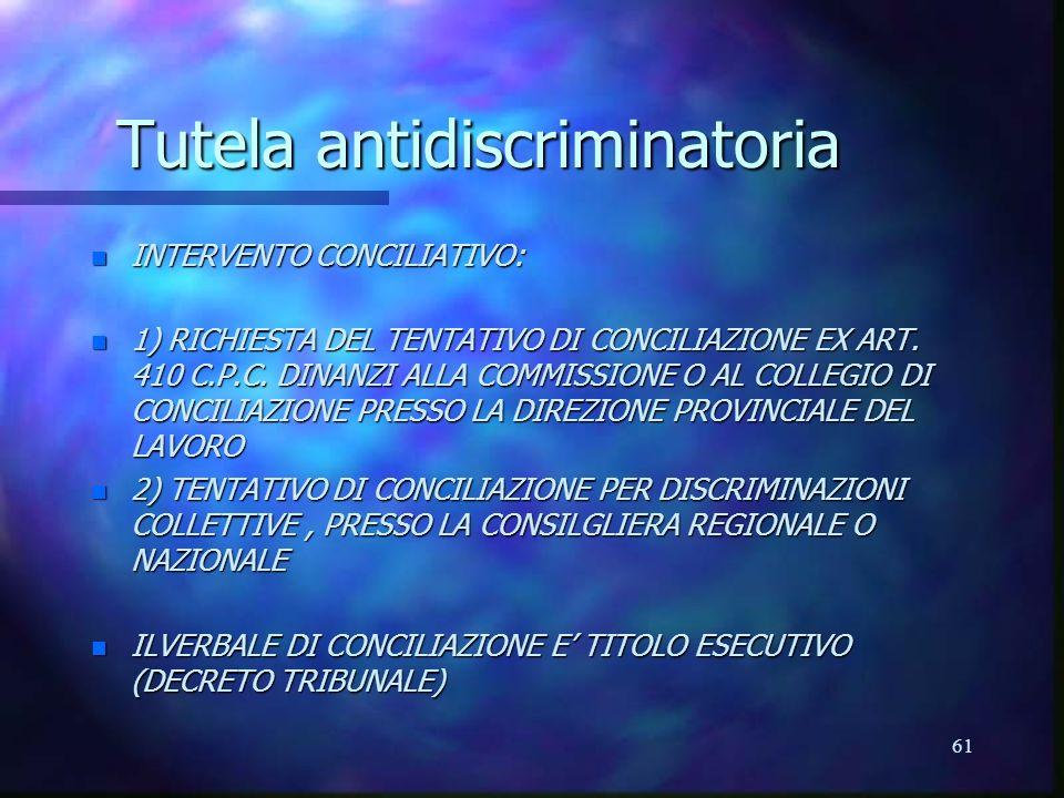 61 Tutela antidiscriminatoria n INTERVENTO CONCILIATIVO: n 1) RICHIESTA DEL TENTATIVO DI CONCILIAZIONE EX ART.