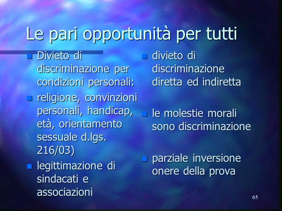 65 Le pari opportunità per tutti n Divieto di discriminazione per condizioni personali: n religione, convinzioni personali, handicap, età, orientamento sessuale d.lgs.
