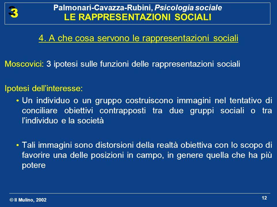 © Il Mulino, 2002 Palmonari-Cavazza-Rubini, Psicologia sociale LE RAPPRESENTAZIONI SOCIALI 3 3 12 4. A che cosa servono le rappresentazioni sociali Mo