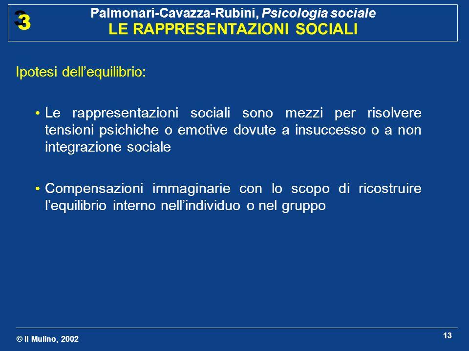 © Il Mulino, 2002 Palmonari-Cavazza-Rubini, Psicologia sociale LE RAPPRESENTAZIONI SOCIALI 3 3 13 Ipotesi dellequilibrio: Le rappresentazioni sociali